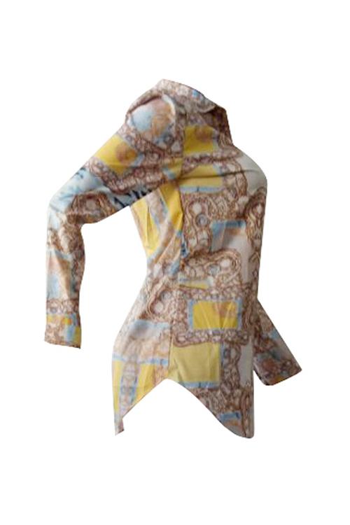 Schöne Freizeit Turndown Kragen Lange Ärmel Bedruckte Polyester-Shirts