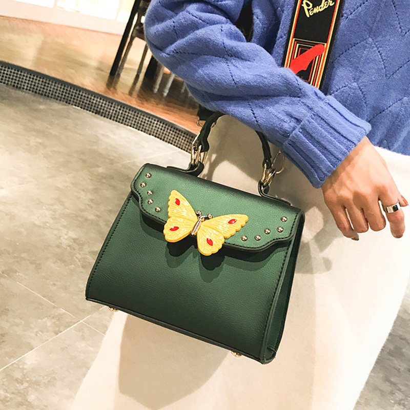 Lovely Fashion Butterfly Decorative Wide Straps Design Green PU Crossbody Bag