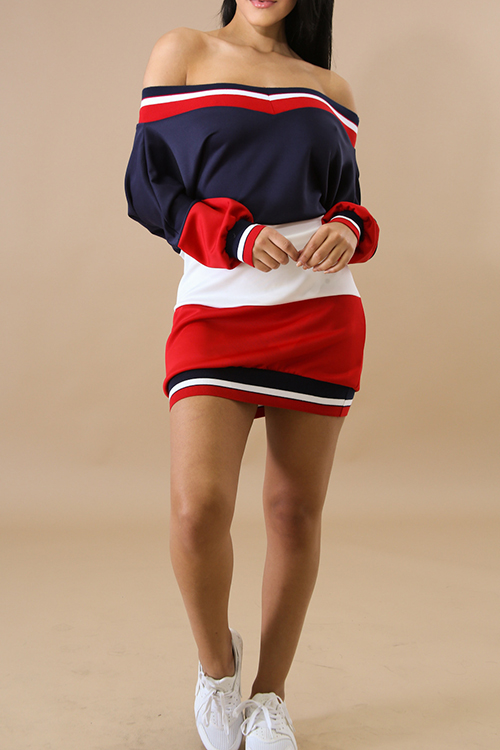 Lovely Euramerican Bateau Neck Contrast Color Patchwork Ribbed White Polyester Mini Dress