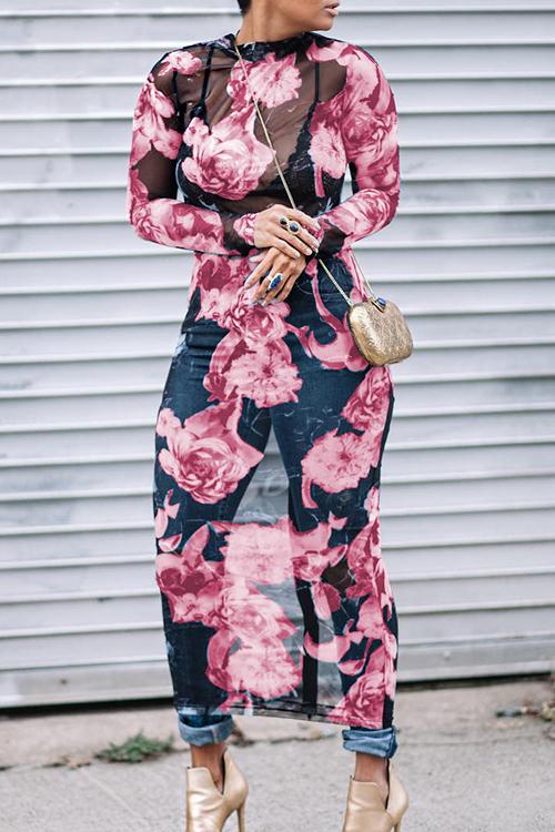 Encantador Y Sexy Cuello Redondo Transparente Con Estampado Floral Vestido De Poliéster Rosado A Media Pierna (impresión Sin Posicionamiento)