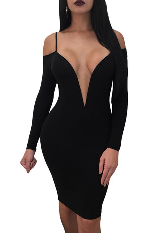 Милые Сексуальные Глубокие V Шеи Роса Плеча Черный Молоко Волокна Колено Длина Платье