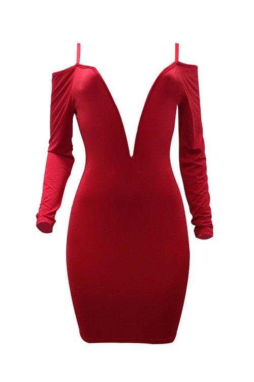 Vestido De Longitud De La Rodilla De La Fibra De La Leche De Color Rojo Rojizo Sexy Cuello Profundo Profundo Rocío