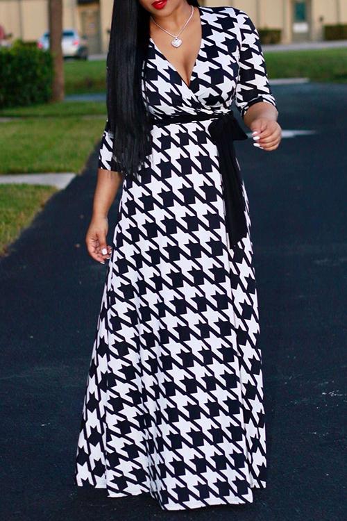 Lovely Vintage V Neck Three Quarter Sleeves Houndstooth Printed Black Milk Fiber Maxi Dress Dresses <br><br>