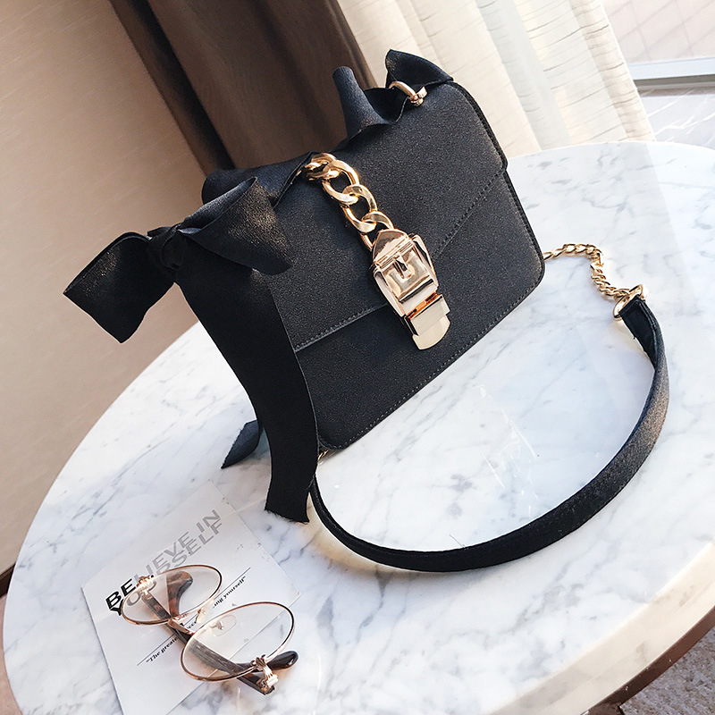 Lovely Fashionable Bow-Tie Design Black Polyester Hasp Crossbody Bag