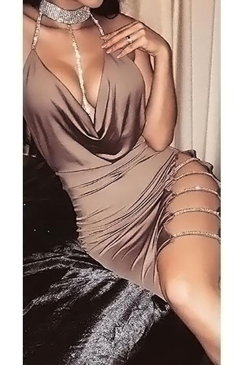 Schöne Sexy Mandarin Kragen Aushöhlen Khaki Baumwolle Mantel Mini Bodycon Kleid