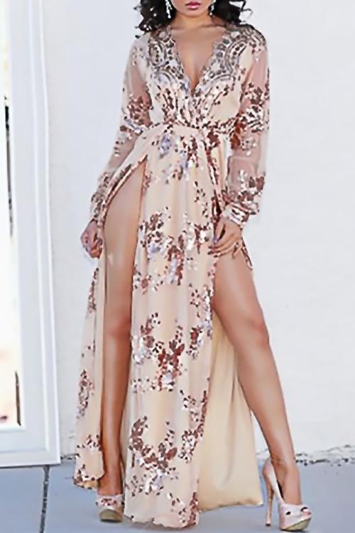 Precioso Vestido De Lentejuelas De Cuello En V Sexy Lentejuelas Lado Del Tobillo De Oro Vestido De Longitud