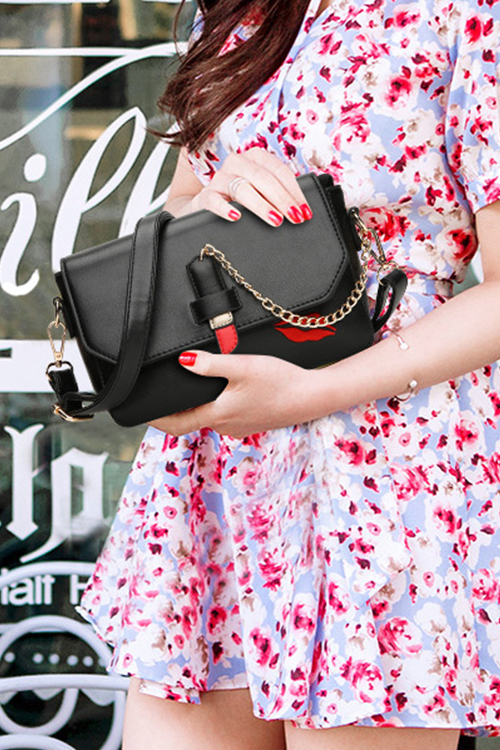 Lovely Fashion Chain Decorative Hasp Design Black PU Crossbody Bag