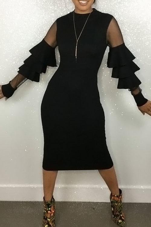 Lovely Sexy Round Neck Net Yarn Splicing Flounce Black Polyester Sheath Midi Dress