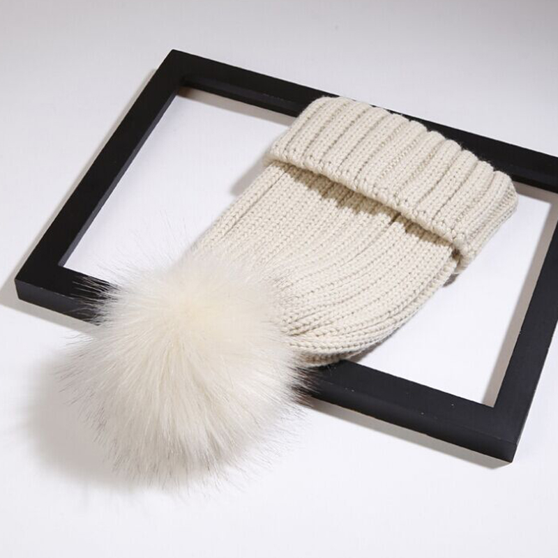 LovelyFashion Maomao Ball Decorative Beige Wool Hat