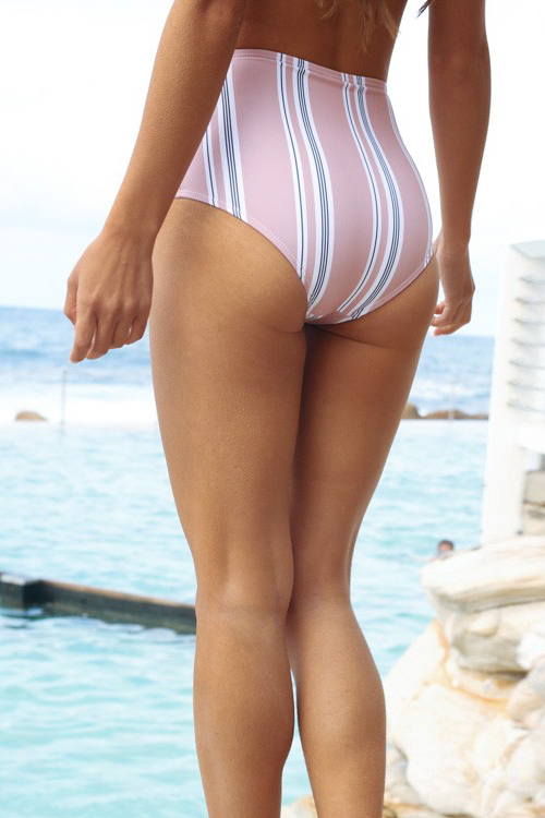 Lovely Fashion Striped Pink Polyester Two-piece Swimwears