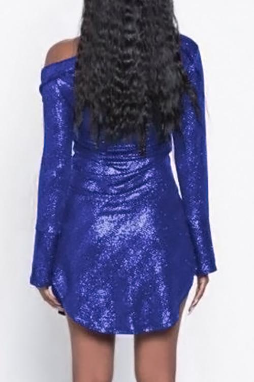 Симпатичный Сексуальный Наклонный Перламутр Печати Однобортный Синий Полиэстер Оболочка Мини Платье