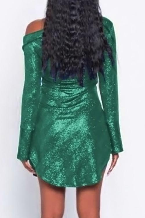 Симпатичная Сексуальная Наклонная Перламутровая Печать Перламутровая Зеленая Полиэфирная Оболочка Мини-платье
