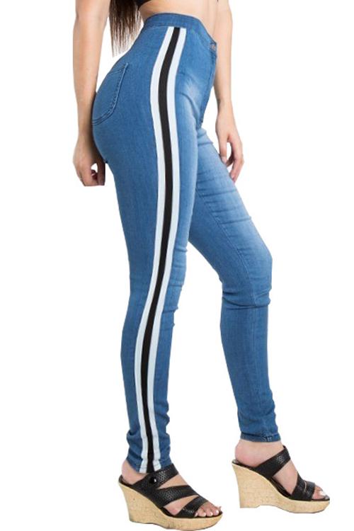 Lovely Trendy High Waist Striped Blue Denim Zipped Jeans