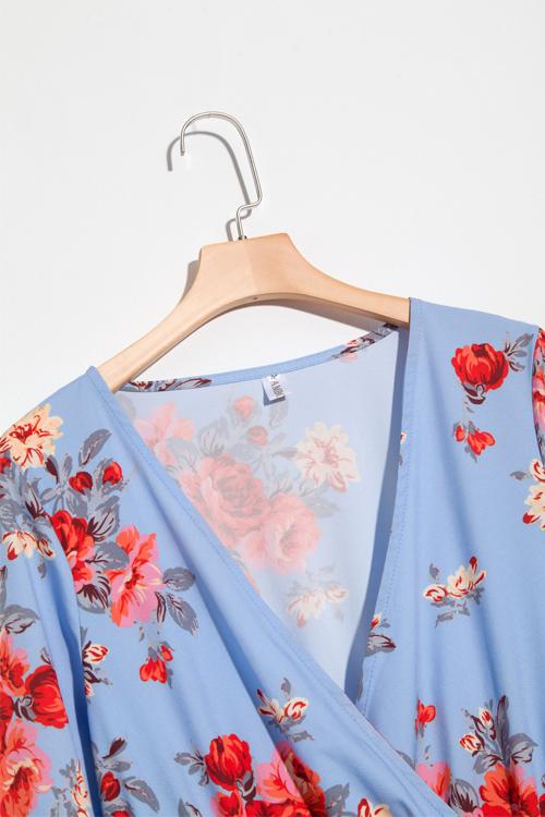 Симпатичная Мода V Шея Цветочный Печатная Сторона Щель Синий Полиэстер Макси Платье