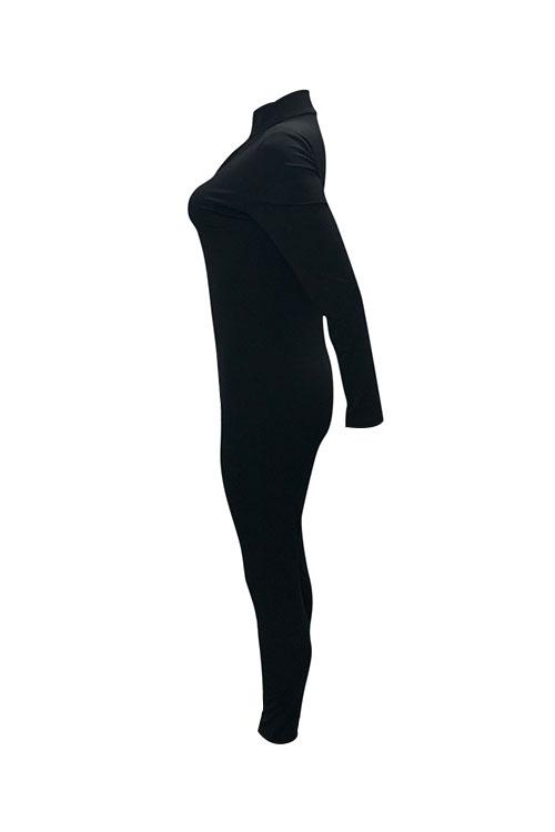 Симпатичный Модный Дизайн Застежки -молнии V Шеи Черный Полиэстер Цельные Комбинезоны
