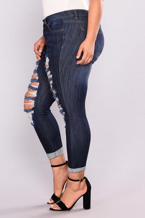 Moda Encantadora Cintura Alta Agujeros Rotos Mezclilla Azul Profundo Con Cremallera Jeans