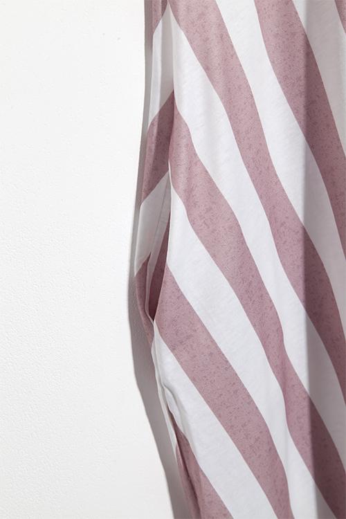 Lovely Fashion Spaghetti Strap Sleeveless Striped Apricot Blending Ankle Length Dress