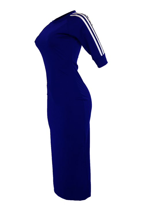 Lovely Sexy Round Neck Striped Army Deep Blue Polyester Sheath Mid Calf Dress