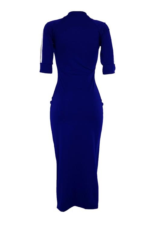 Симпатичная Сексуальная Шея Полосатая Армия Глубокий Синий Полиэстер Оболочка Середине Теленка Платье