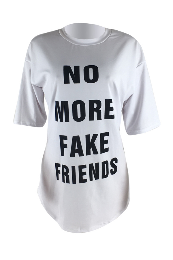 Lovely Casual Round Neck Letters Printed White Polyester Mini Dress