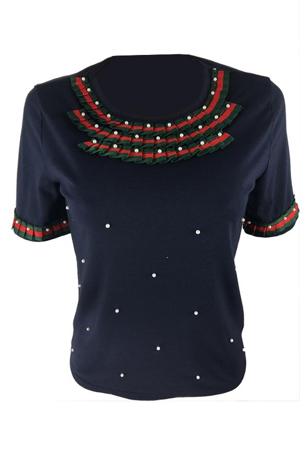 Encantador Ocasional Cuello Redondo Manga Corta Decoración De La Perla Negro Camiseta De Algodón