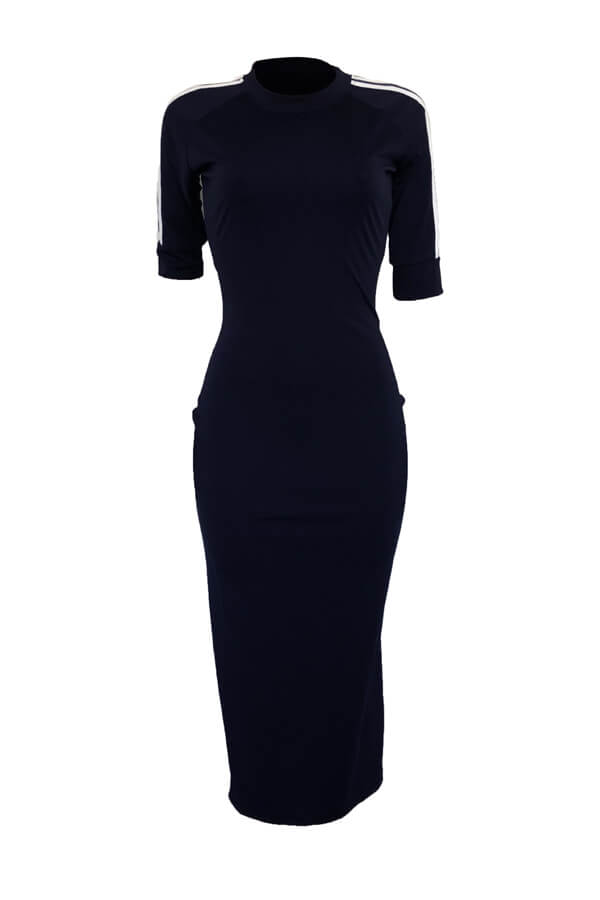 LovelySexy Round Neck Striped Dark Blue Polyester Sheath Mid Calf Dress
