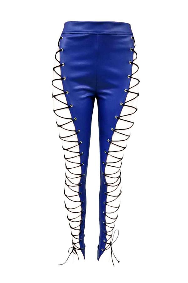 Lovelyfashion Cintura Alta Elástica Con Cordones Pantalones De Cuero Azules Ahuecados