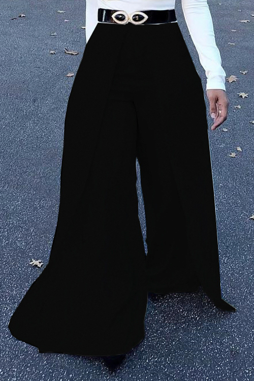 Lovely Trendy Elastic High Waist Black Polyester Pants(Without Belt)<br>