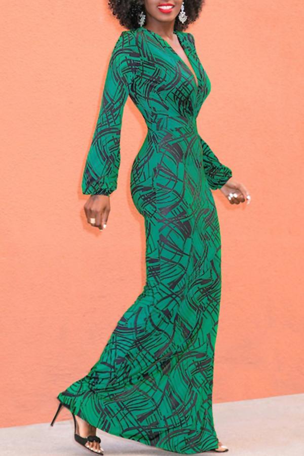 Lovely Sexy V Neck Lantern Sleeves Geometric Printed Green Polyester Ankle Length Dress