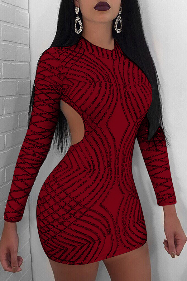 Lovely Sexy Round Neck Back Hollow-out Sequins Decoration Wine Red Polyester Sheath Mini Dress Dresses <br><br>