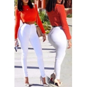 Euramerican High Waist Zipper Design White Denim P