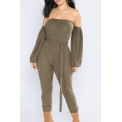 Fashion Bateau Neck Lantern Sleeves Army Green Polyester One-piece Jumpsuits(With Belt)