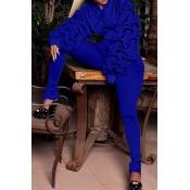 Precioso Euramerican Con Capucha Con Capucha Puff Mangas Azul Poliéster De Dos Piezas Conjunto De Pantalones