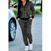 Lovely Casual Hooded Collar Zipper Design Grey Knitting Two-piece Pants Set