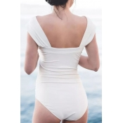 Lovely Sexy Bateau Neck Fold Design White Spandex One-piece Swimwears