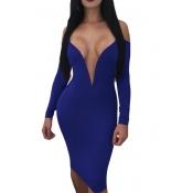 Vestido De Longitud De La Rodilla De La Fibra De La Leche De Color Azul Oscuro Atractivo Profundo Cuello Rocío