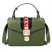 Lovely Fashion Chain Decorative Hasp Design Green PU Crossbody Bag