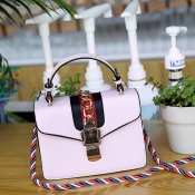 Lovely Fashion Chain Decorative Hasp Design Pink PU Crossbody Bag