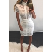 Lovely Sexy Mandarin Collar See-Through White Polyester Sheath Mini Dress(Without Subcoating)