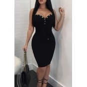 Lovely Sexy Strapless Button Decorative Black Healthy Fabric Sheath Knee Length Dress(With Belt)