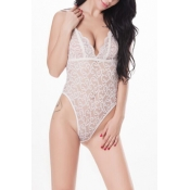 Lovely Sexy See-Through Hollow-out White Lace One-