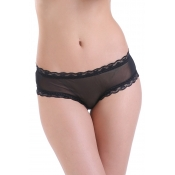 Lovely Sexy See-Through Black Polyester Panties