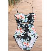Encantadora Moda Lace-up Espremido Floral Preto Impresso Nylon De Uma Peça Swimwears