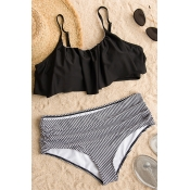 Lovely Sexy Falbala Design Striped Black Polyester Two-piece Swimwears