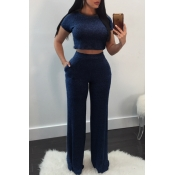 Lovely Casual Round Neck Short Sleeves Deep Blue Cotton Two-Piece Pants Set