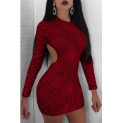 Lovely Sexy Round Neck Back Hollow-out Sequins Decoration Wine Red Polyester Sheath Mini Dress