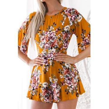 Lovely Fashion Round Neck Backless Floral Printed Yellow Chiffon One-piece Short Jumpsuits