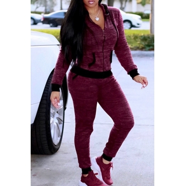 Lovely Casual Hooded Collar Zipper Design Wine Red Knitting Two-piece Pants Set