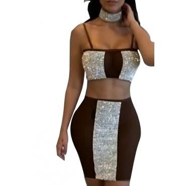 Lovely Sexy Spaghetti Strap Sleeveless See-Through Hot Drilling Decorative Brown Polyester Two-piece Skirt Set(Without Belt)