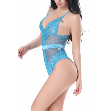 Lovely Sexy See-Through Hollow-out Blue Lace One-piece Jumpsuits